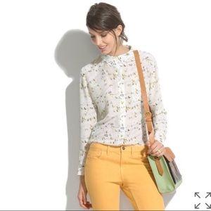 Madewell birds on power line silk button shirt